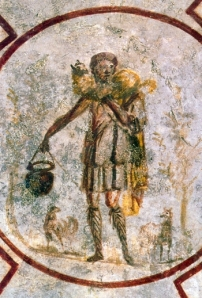 What! No Beard??? (A very early image of Jesus from the catacomb at San Callisto)