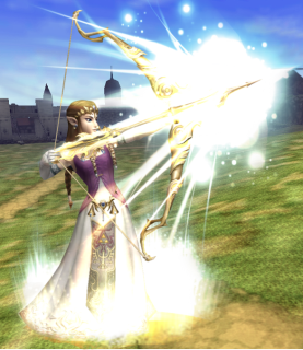 Zelda shooting a light arrow.