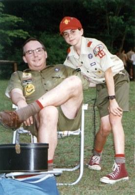 dad and adam at camp